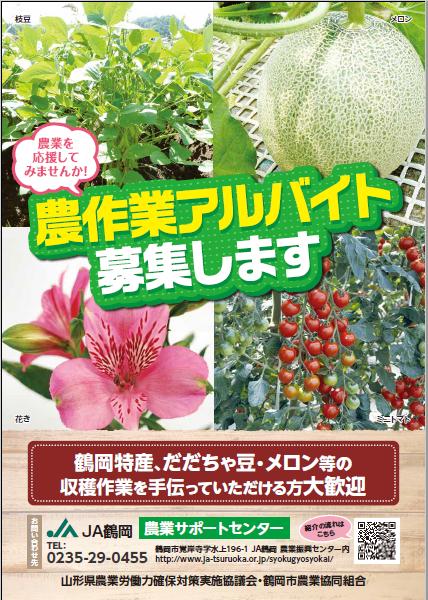 JA鶴岡「農作業アルバイト募集します」【R2年版】
